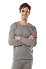 南極人保暖內衣竹炭羊毛二層護腿舒福絨秋冬男女情侶套裝加絨加厚(男款軍綠)